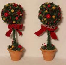 Green & Red Topiary Christmas Trees