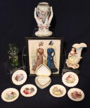 Ceramics Depicting Period Dress & Hand Vase