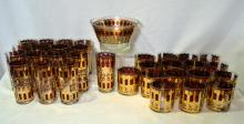 Cocktail Glasses & Ice Bucket w/Red & Gold Designs