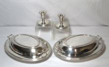 Sterling Candleholders & 2 Silverplated Casseroles
