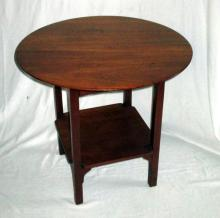 Vintage Round Table Over Square Shelf