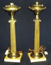 Pair Brass Ionic Column Lamps