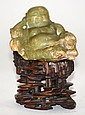 Chinese Carved Hardstone Laughing Buddha on Stand