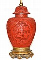 Chinese Qing Carved Cinnabar Lacquer Covered Jar