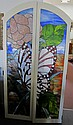 Pair of Stained Glass Butterfly Doors