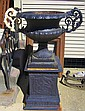 Pair of Large Cast Iron Black Urns
