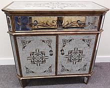 1 drawer, 2 door paint decorated mirrored cabinet