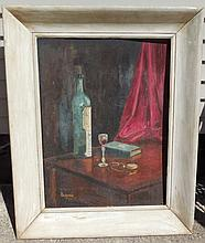 Signed still life on panel (Rogera 1953)