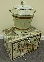 Tole covered tin and cabinet