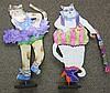 2 Signed Judi Bomberger Whimsical Metal sculptures of cats