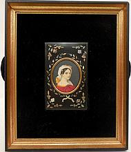 Framed hand painted miniature portrait behind glass