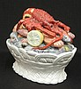 Palissy Majolica lobster covered serving bowl