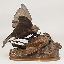 Bronze life-size sculpture of fighting birds