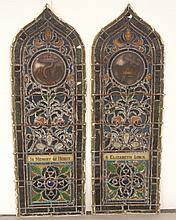 Pair of Gothic form stained glass windows