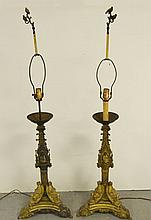 Pair of Cathedral candlestick lamps