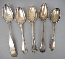 Grouping of silver tablespoons