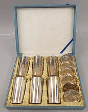 950 silver cup set in fitted case