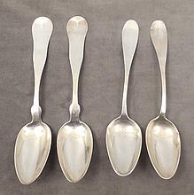 Two pairs of early American silver serving spoons