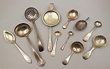 Grouping of eleven silver spoons