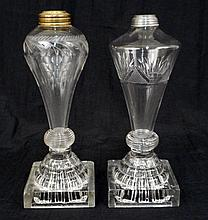 Two glass whale oil lamps