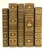Five 3/4 gilt leather bound books