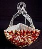 Art glass crimped tri corner basket with spatter glass overlay and clear twisted thorn handle, ca. 1870 - 1880's.