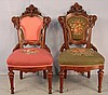 Pair of walnut Victorian needlepoint parlor chairs with carving all over backs, one pink, one green, ca. 1860, 39in. T, 19in. W, 20in. D.