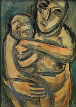 Wolf Kibel Mother and Child signed oil on card 21