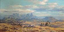 Otto Klar Extensive Landscape, Mountains Beyond