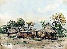 Otto Klar Rural Huts signed charcoal and