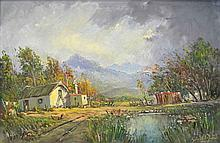 Gabriel Cornelis de Jongh Farmhouse with Mountains