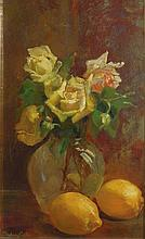 Sydney Carter Still Life with Roses and Lemons