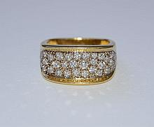 Diamond and 18ct gold dress ring pavé-set