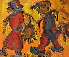 Frans Martin Claerhout Two Figures signed oil on