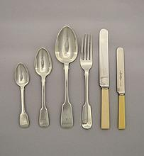 An assembled part set of Fiddle pattern silver