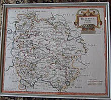Framed Map of Herefordshire by ROBERT MORDEN (14
