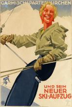 LUDWIG HOHLWEIN (1874-1949). GARMISCH - PARTENKIRCHEN UND SEIN NEUER SKI - AUFZUG. Circa 1935. 25x15 inches, 63x39 cm. Herm. Sonntag &