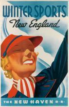 SASCHA MAURER (1897-1961). WINTER SPORTS / NEW ENGLAND / THE NEW HAVEN R.R. 1937. 42x27 inches, 107x70 cm. McCandlish Litho. Corp., Phi