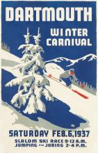 TED HUNTER (DATES UNKNOWN). DARTMOUTH WINTER CARNIVAL. 1937. 34x22 inches, 87x56 cm.