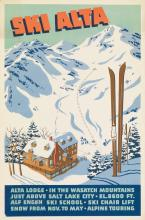 DESIGNER UNKNOWN. SKI ALTA. Circa 1941. 25x16 inches, 63x42 cm.