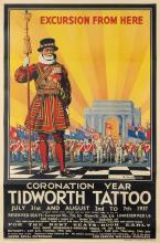 H. OAKES-JONES (DATES UNKNOWN). TIDWORTH TATTOO. 1937. 60x40 inches, 150x102 cm. Gale & Polden Ltd., Aldershot.