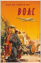 DESIGNER UNKNOWN. FLY TO INDIA BY B•O•A•C. Circa 1950s. 30x19 inches, 76x50 cm.