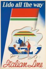 PAOLO FEDERICO GARRETTO (1903-1989). ITALIAN LINE / LIDO ALL THE WAY. 1937. 36x24 inches, 91x61 cm.