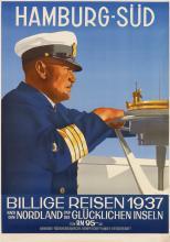 OTTOMAR ANTON (1895-1976). HAMBURG - SÜD / BILLIGE REISEN. 1937. 47x33 inches, 119x83 cm.