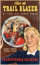 DESIGNER UNKNOWN. RIDE THE TRAIL BLAZER / DE LUXE ALL - COACH TRAIN / PENNSYLVANIA RAILROAD. Circa 1941. 40x25 inches, 102x64 cm.