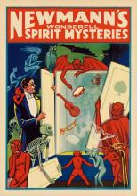 DESIGNER UNKNOWN. NEWMANN'S WONDERFUL SPIRIT MYSTERIES. 28x19 inches, 71x50 cm. Donaldson Litho Co., Kentucky.