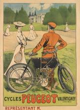 E. THELEM (ERNEST BARTHELEMY LEM, 1869-1930). CYCLES PEUGEOT. Circa 1897. 59x41 inches, 150x105 cm. G. Elleume, Paris.