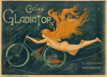 DESIGNER UNKNOWN. CYCLES GLADIATOR. Circa 1895. 37x 52 inches, 95x132 cm. G. Massias.