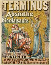 FRANCISCO TAMAGNO (1851-1933). TERMINUS / ABSINTHE BIENFAISANTE. Circa 1895. 49x38 inches, 125x97 cm. Camis, Paris.