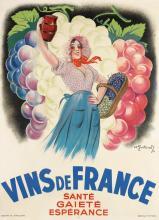 ANDRÉ GALLAND (1886-1965). VINS DE FRANCE. 1937. 63x45 inches, 160x116 cm. Bedos & Cie., Paris.